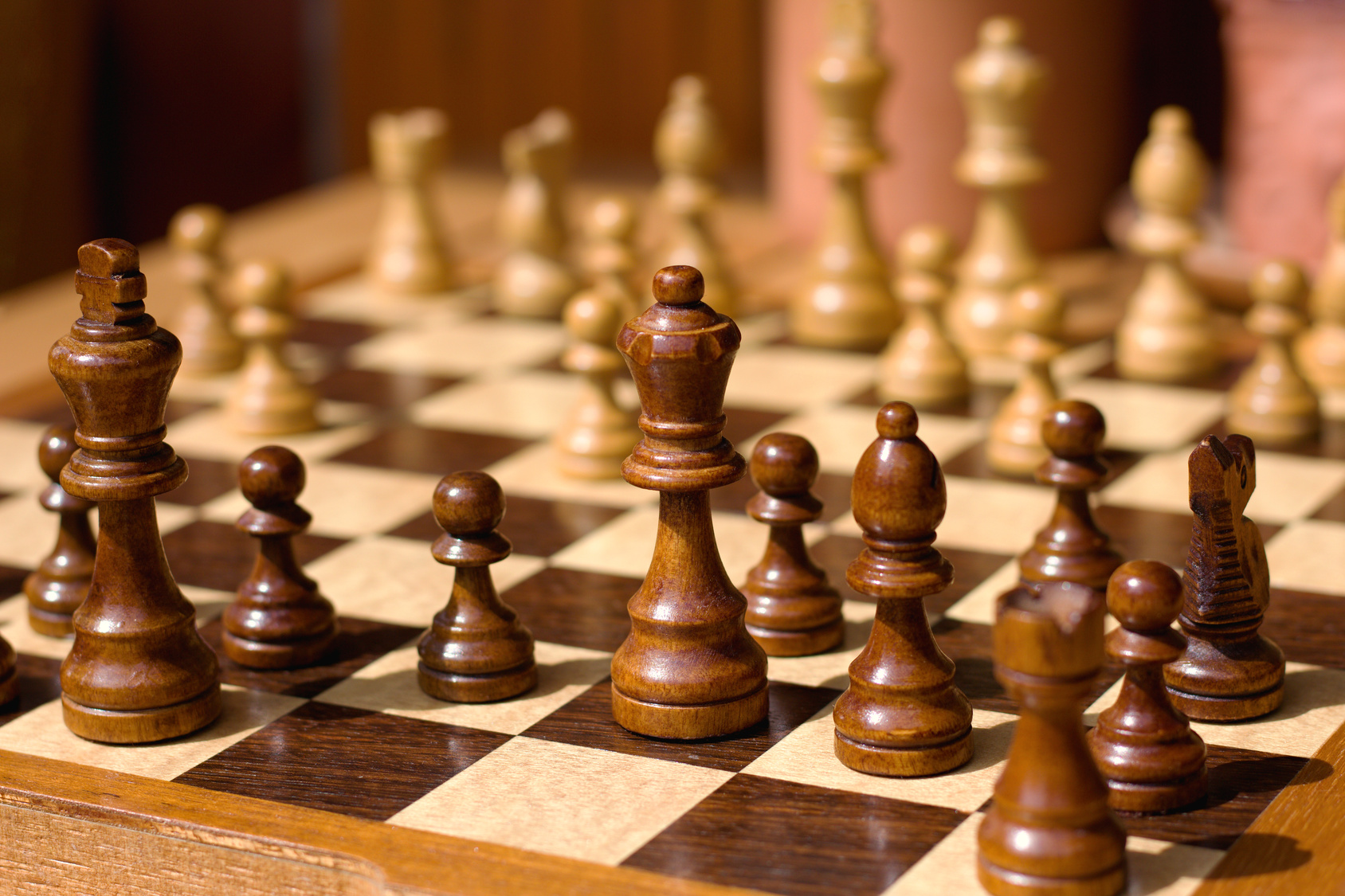 wooden chess pieces on a chessboard outdoor at the sunny day, king in focus